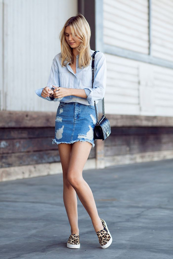 7ec337f56e32 20 Style Tips On How To Wear Denim Mini Skirts